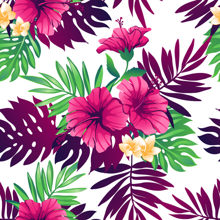 Tropical trendy seamless pattern with exotic flowers and leaves. Stock Illustratie