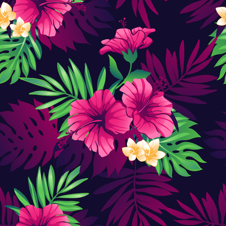 Tropical trendy seamless pattern with exotic flowers and leaves. Çizim
