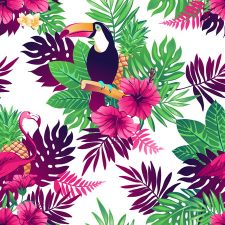 Tropical trendy seamless pattern with toucans, flamingos, exotic flowers and leaves.