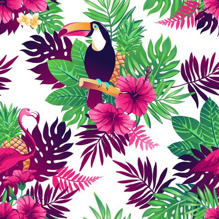 Tropische trendy naadloze patroon met toekans, flamingo's, exotische bloemen en bladeren.