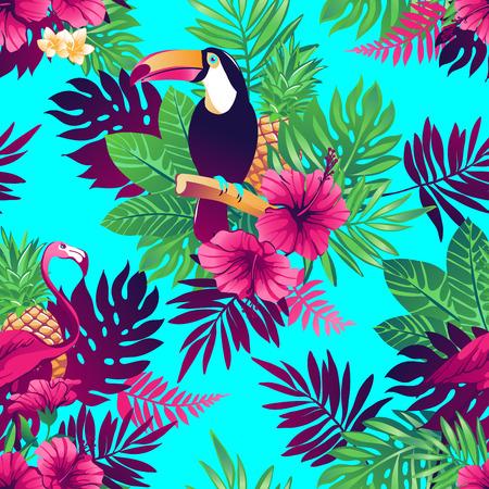 flores exoticas: Tropical Modelo incons�til de moda con tucanes, flamencos, flores y hojas ex�ticas.
