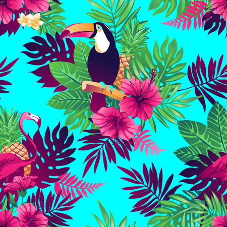 exotic fruits: Tropical trendy seamless pattern with toucans, flamingos, exotic flowers and leaves.