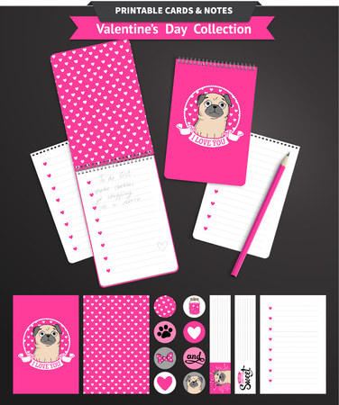 printable: Valentines day set wih funny pugs and lettering. Vector printable notepad design of cover and papers. Illustration
