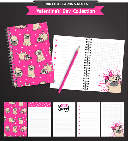 pug: Valentines day set wih funny pugs and lettering. Vector printable notepad design of cover and papers. Illustration