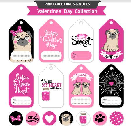 발렌타인 데이 인쇄용 재미 있은 pugs 및 문자 집합을 인쇄합니다. 벡터 인쇄 카드, 메모, 스티커 및 배너입니다. 일러스트