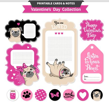 Valentijnsdag afdrukbare set wih grappig pugs en belettering. Vector printbare kaarten, nota's, stickers en banners.