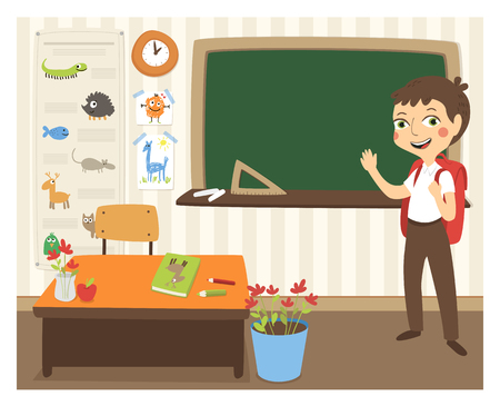 studying classroom: Back to school vector illustration with sanding student in classroom. Illustration
