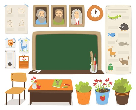 studying classroom: Back to school vector cartoon interior set.