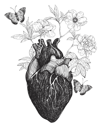 Human anatomical heart with flowers isolated on white background. Vintage hand drawn vector illustration. Stock Illustratie
