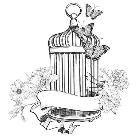 birdcage: Birdcage wih ribbon, flowers and butterfly isolated on white background. Vintage hand drawn vector illustration. Illustration