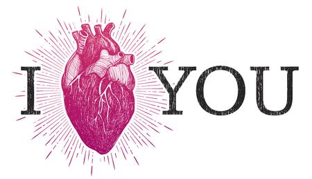 Te Amo con el corazón anatómico humano aislado sobre fondo blanco. Por Vintage elaborado ilustración vectorial.