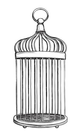 birdcage: Birdcage isolated on white background. Vintage hand drawn vector illustration.