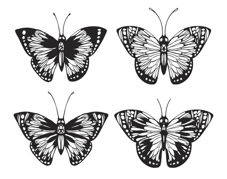 etched: Butterfly set. Vintage hand drawn vector illustration.