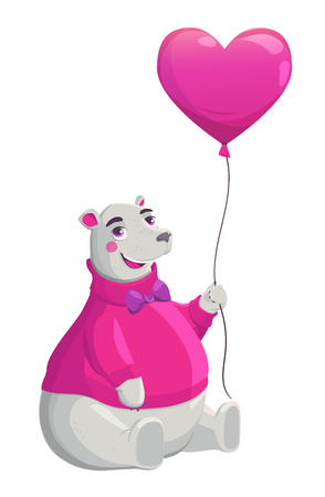 valentine s day teddy bear: Bear holding pink heart isolated on white background. Cartoon vector illustration. Valentines Day Card.