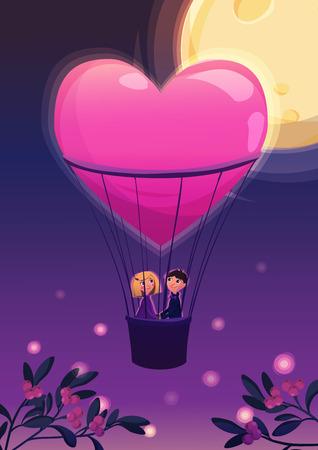 enamorados caricatura: Dos amantes en un globo. en la noche en el fondo de la luna. ilustración vectorial de dibujos animados. Tarjeta del día de San Valentín.