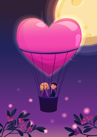 boy romantic: Two lovers in a balloon. in night on the moon background. Cartoon vector illustration. Valentines Day Card.
