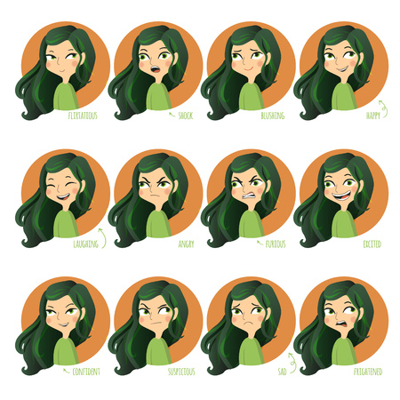 Set of facial expressions of cute girl. Flirtatious, shock, blushing, happy and other. Vector illustration.