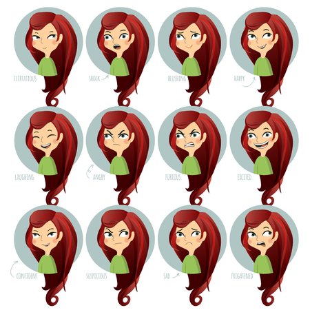 blushing: Set of facial expressions of cute girl. Flirtatious, shock, blushing, happy and other. Vector illustration.