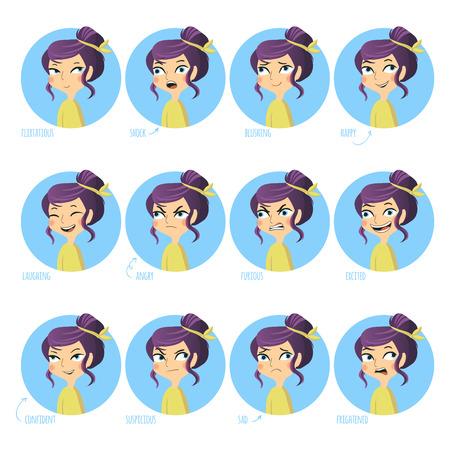 mujer enojada: Conjunto de expresiones faciales de linda chica. Coqueta, choque, rubor, feliz y otra. Ilustración del vector.