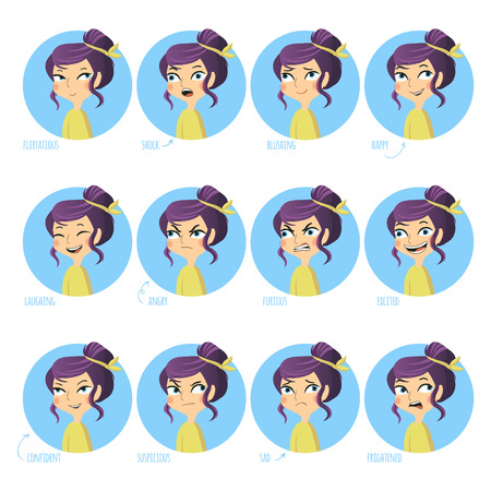 scared woman: Set of facial expressions of cute girl. Flirtatious, shock, blushing, happy and other. Vector illustration.