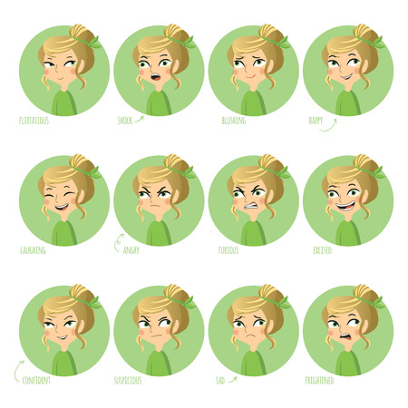 flirtatious: Set of facial expressions of cute girl. Flirtatious, shock, blushing, happy and other. Vector illustration.