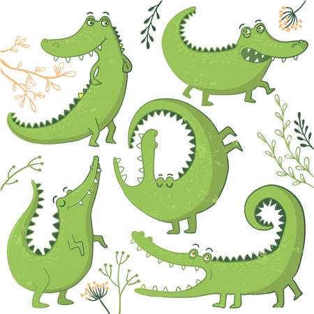 Set of funny hand drawn crocodiles and floral elements. Vector illustration.