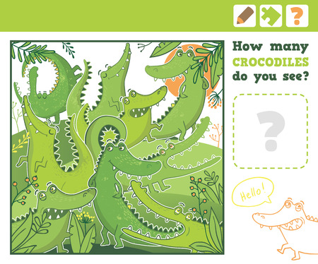 Jungle. Education Counting Game for Children. How many crocodiles do you see. Vector Illustration.