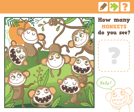 preliminary: Jungle. Education Counting Game for Children. How many monkeys do you see. Vector Illustration.