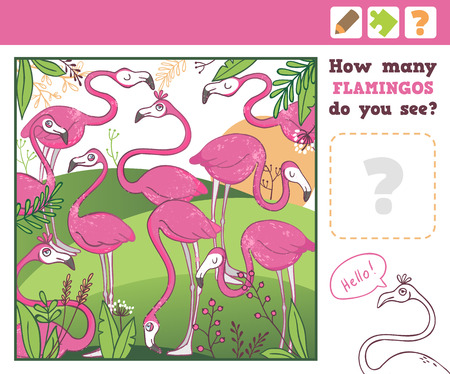 preliminary: Jungle. Education Counting Game for Children. How many flamingos do you see. Vector Illustration.