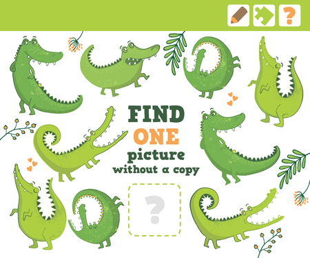preliminary: Crocodiles. Education Game for Children. Find one picture without copy. Vector Illustration. Illustration
