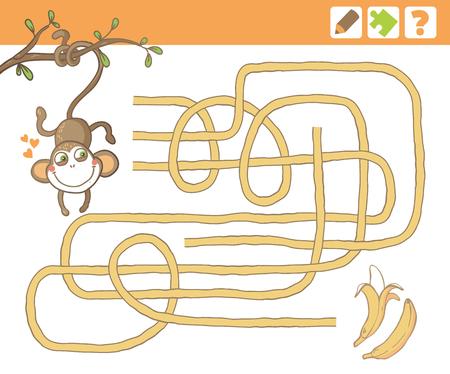 원숭이와 바나나. 어린이를위한 교육 미로 또는 미로 게임. 벡터 일러스트 레이 션.