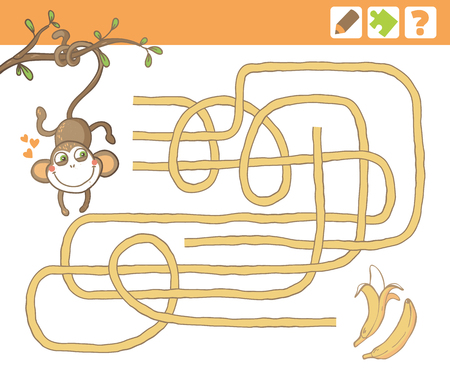 Monkey and bananas. Education Maze or Labyrinth Game for Children. Vector Illustration.