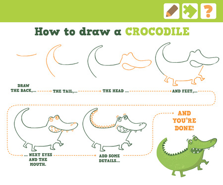 Education Game for Children. How to draw a crocodile. Vector Illustration.