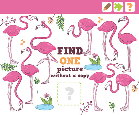 preliminary: Flamingos. Education Game for Children. Find one picture without copy. Vector Illustration.