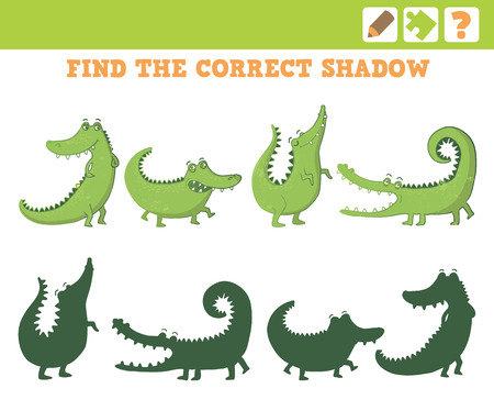 preliminary: Crocodiles. Education Game for Children. Find the correct shadow. Vector Illustration.