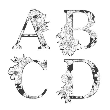 Fleur alphabet. L'art du tatouage, livres à colorier. Isolé sur fond blanc. Vérifiez mon portefeuille pour d'autres lettres. Banque d'images - 52783001