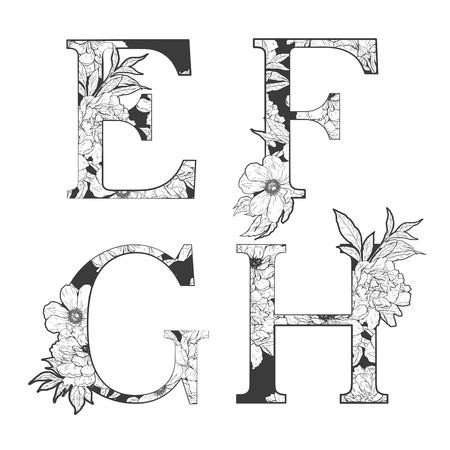 꽃 알파벳입니다. 문신 예술, 색칠하기 책. 흰색 배경에 고립. 다른 편지에 대한 내 포트폴리오를 확인하십시오.