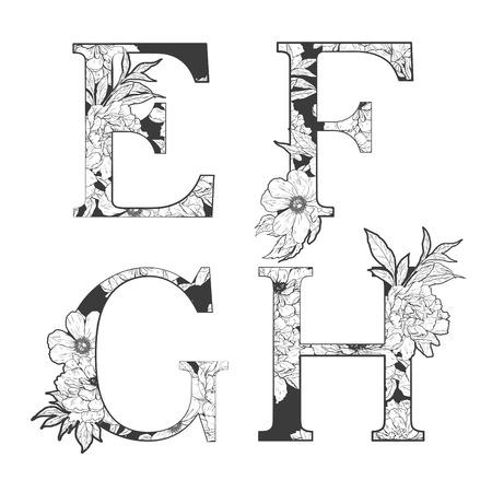 Fleur alphabet. L'art du tatouage, livres à colorier. Isolé sur fond blanc. Vérifiez mon portefeuille pour d'autres lettres. Banque d'images - 52783000