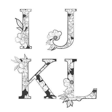 flower alphabet. Tattoo art, coloring books. Isolated on white background. Check my portfolio for other letters. Vectores