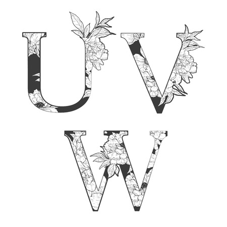 flower alphabet. Tattoo art, coloring books. Isolated on white background. Check my portfolio for other letters.  イラスト・ベクター素材