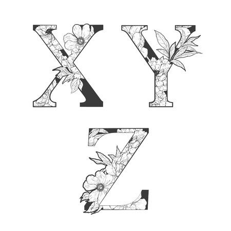 El alfabeto de flores. arte del tatuaje, libros para colorear. Aislado en el fondo blanco. Revisar mi cartera para otras letras. Foto de archivo - 52783004