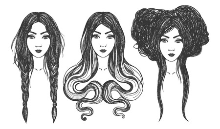Women. Tattoo art, coloring books. illustration Isolated on white background.