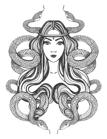 donna farfalla: Donna con i serpenti. Arte del tatuaggio, libri da colorare. Illustrazione isolato su sfondo bianco.