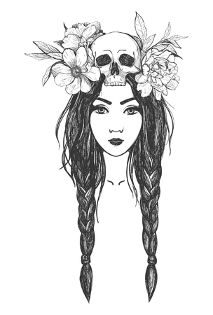 occult: Woman with skull, flowers. Tattoo art, coloring books. illustration Isolated on white background.