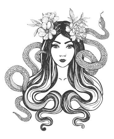tatouage fleur: Femme avec des fleurs et des serpents. L'art du tatouage, livres à colorier. illustration isolé sur fond blanc.
