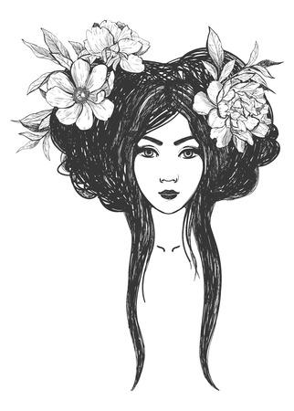 Donna con fiori. Arte del tatuaggio, libri da colorare. Illustrazione isolato su sfondo bianco. Archivio Fotografico - 52783009
