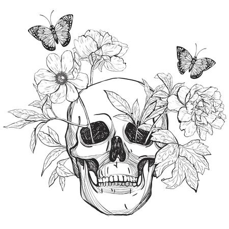 두개골, 꽃과 나비. 문신 예술, 색칠 공부 책. 빈티지 그림 흰색 배경에 고립.