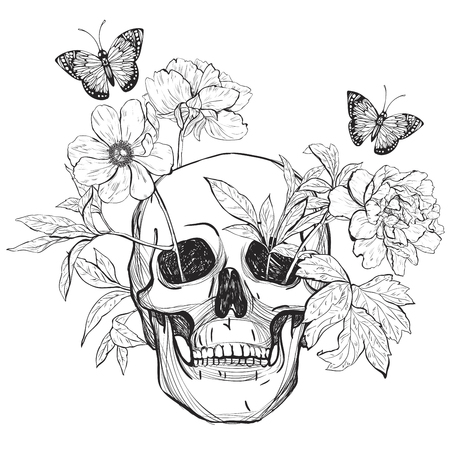 rose butterfly: Skull, flowers and butterfly.  Tattoo art, coloring books.  vintage illustration Isolated on white background.