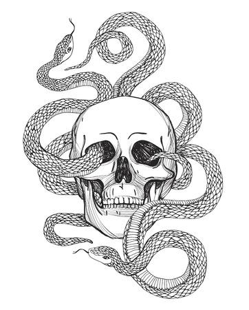 Skull and Snake. Tattoo kunst, kleurboeken. vintage illustratie geïsoleerd op een witte achtergrond.