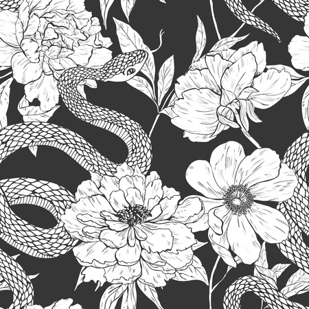 Snakes and flowers. Tattoo art, coloring books.  vintage seamless pattern.